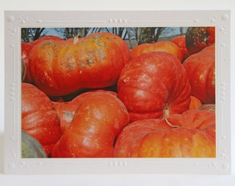 Cinderella Pumpkins Photo Greeting Card, Fall Colors, Autumn Greeting, Fine Art Photography, White Blank Notecard, Fall and Thanksgiving