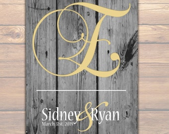 Wood Rustic Theme Wedding Chic | Initial Bridal Shower Gift | Monogram Art Print | MONOGRAM BRIDAL GIFT | Personalized Engagement Gift 02