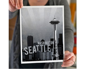 Seattle Washington City Skyline - Seattle Art - Seahawks - Emerald City Print - Wall Art - Souvenir - Wedding Gift - Print - Space Needle