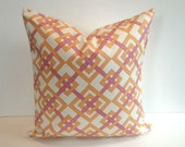 Designer Pillow Cover, Decorative, Throw. 16x16 inch- Popular Waverly Tiger Orange Geometric