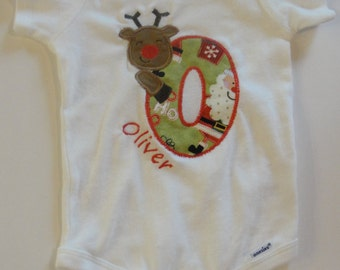 Baby Bodysuit Onsie Personalized Christmas Rudolph Letters