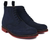 Grenson Sharp Navy Nubuck Brogue Boots
