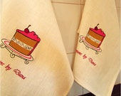 Hostess Gift Set of 2 Embroidered Personalized  100% Linen  Towels - Afternoon Delight -  Kitchen Dinner Birthday  Bridal Shower Gift