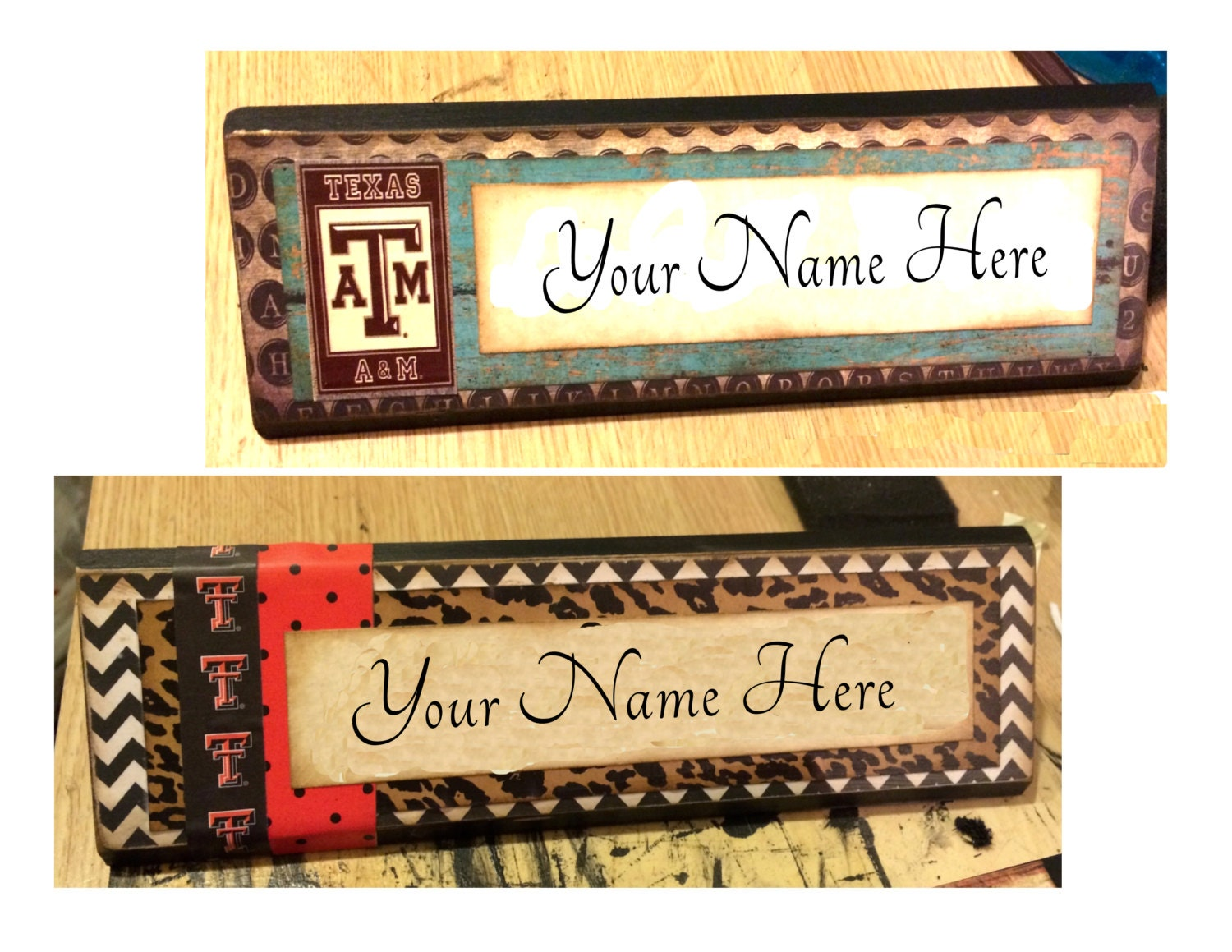 College wooden office desk name plate plaque block