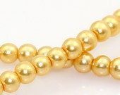 SALE 1050 Pearl Beads Champagne Gold - WHOLESALE - 4mm - 5 Strands - Ships IMMEDIATELY from California - B925a