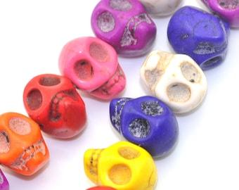 41 Skull Beads Howlite Turquoise Assorted 13X12mm - 1 Strand - Ships IMMEDIATELY from California - B904