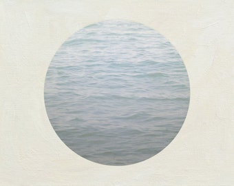 Minimalist Photography, Ombre Blue Wall Decor,  Lake House Decor, Round Photograph, Gray Artwork, Ocean Picture