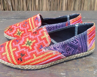 Espadrilles Vegan Womens Loafers Orange Hmong Embroidered Shoes With Purple Batik - Morgan