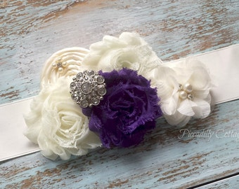 Purple Bridal Sash, Flower Girl Sash, Maternity Sash, Bridal Belt, Bridesmaid Sash, Custom Sash, Flower Sash, Wedding Dress Sash