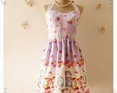 Vintage Inspired Dress Tea Dress Lilac Kitten Dress The Cat Dress Summer Dress Cute Frock Party Dress Purple Dress  -Size XS,S,M,L,XL,Custom