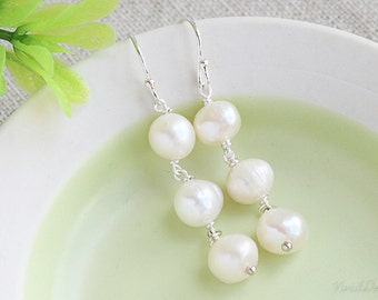 Simple Long Pearl Earrings - Past, Present, Future Bridal Jewelry, Wedding Jewelry, Bridesmaids gifts, Freshwater pearls, June Birthstone