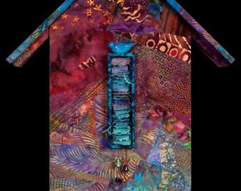 """Batik original art bird house collectible titled """"Guardian Bird"""""""