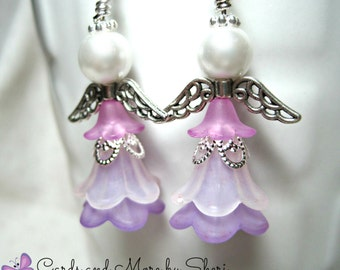 Angel Earrings - Purple and White