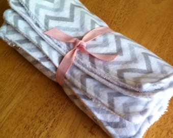 Cloth Unpaper Towels Flannel Chevron Grey White Burp Cloth Wipes Set of 8