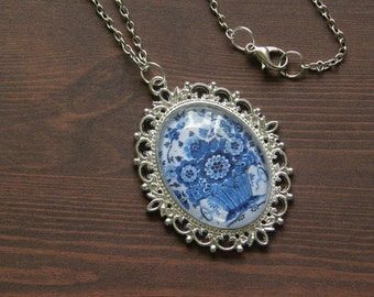 Delftware Pottery Inspired Floral Bouquet Cameo Necklace