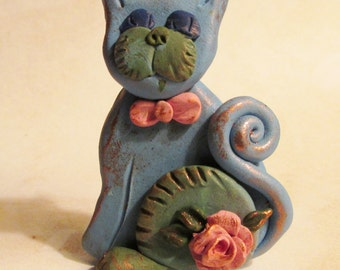 Adorable kitty cat Rosie ooak polymer clay 2 1/2 inches