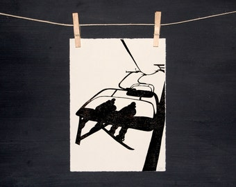 Ski Snowboard Chairlift - Hand printed - Original