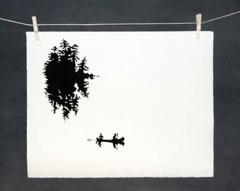 Canoe Island - LINOCUT - hand printed