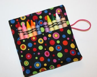 Crayon Rolls, Festive Dots Crayon Roll holds up to 10 Crayons,  BIRTHDAY PARTY FAVORS Crayon Rolls
