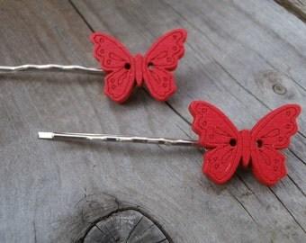 Red butterfly hair grips bobby pins butterflies
