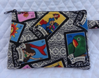 Bracelet bag (fun utility bag for on-the-go) Mexican Loteria Art