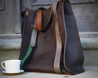 Big brown oversize leather bag  Big Lili
