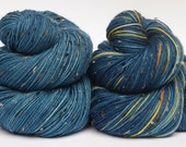 Hand Dyed Fingering/Sock Yarn, Superwash Merino/Nylon,Dr.Who- Vincent and the Doctor with Complimentary Blue
