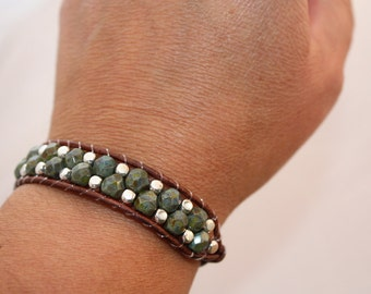 Wrap bracelet - olive green faceted czech glass beaded wrap - beaded wrap bracelet - bohemian glass wrap - free shipping
