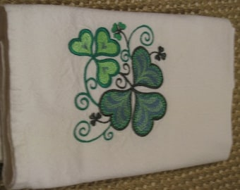 Shamrocks Four Leaf Clovers Towel- DISCOUNTED for FLAW