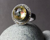 Fine Jewelry Lemon Quartz Ring In Oxidized Sterling With Thirty Two Tiny Pave Set Yellow Diamonds