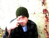 Knit Mens Hat Knitted Green Man Beanie Unisex Earthy Winter Cap Womens Crochet