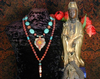 Turquoise Necklace, Kwan Yin Mala, Ethnic Jewelry, Meditation Yoga Necklace Set, Tibetan Pendant Necklace, India, Nepal, Statement