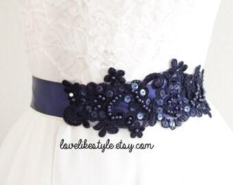 Navy Sequined and Beaded  Lace Sash, Bridal Sash, Bridal headband, Bridesmaid Sash / SH-40