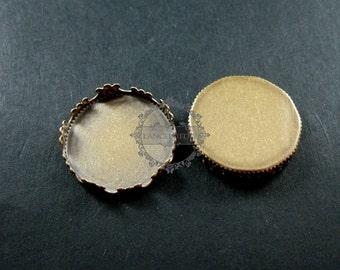 20pcs 20mm setting size vintage style bronze crown round bezel tray DIY pendant charm supplies 1411053