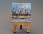 "Water Art Original Acrylic Painting 3""x3"": Ice Edge"