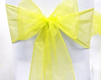 Chair Sashes. 100  Wedding Chair Sashes. Chair Bows.  Yellow Organza Pew Bows Party Bows Event