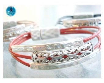 Leather Strand and Silver Tube Bracelet - Magnetic Clasp - Multi Strand - Custom Leather Bracelet - Unisex - Ladies - Mens