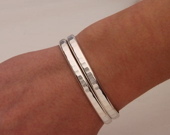 Thick Hammered Cuff Bracelets, Sterling Silver