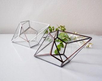 Terrarium, Glass Terrarium, Geometric Shape Plant Holder.