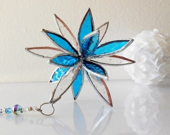 Blue and Clear Glass Flower. 3D Stained Glass Suncatcher. Flower of Life - Swirl.