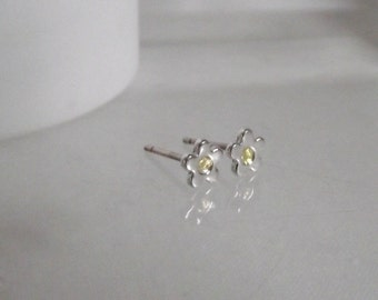 Stunning Handmade Fine Silver and 24 carat gold ditsy floral Stud Earrings