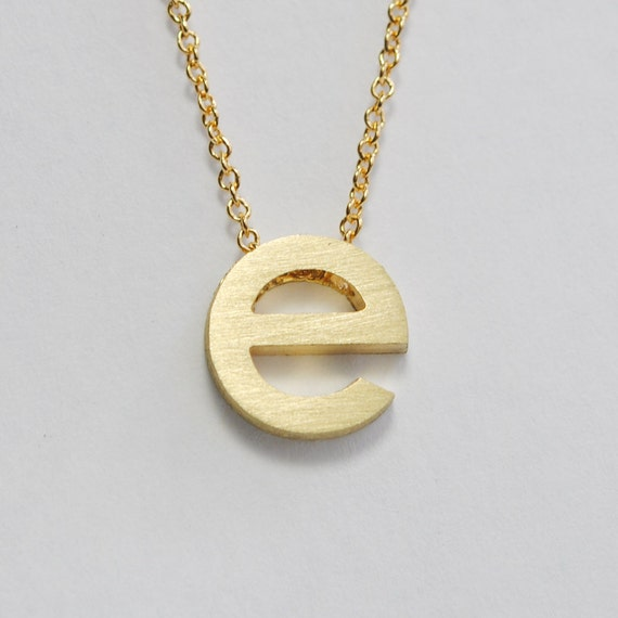 Lowercase letter pendant in solid 14k gold delicate letter for Lowercase letter necklace