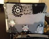 Wristlet, Cosmetic Bag, Purse Organizer, Make up Bag, Small Purse, Alexander Henry Fabric, Ghastlie Family Reunion, Ghastlies