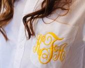 Bridesmaid Button-Down Shirt - Set of 2 - Monogram - Embroidered - 29 Colors - Flower Girl - Oversize - Boyfriend Shirt