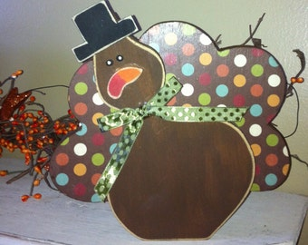 Thanksgiving turkey fall wood decor gobble wood block