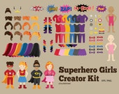 buy 2 get 1 free Superhero Girls Creator Kit clip art for personal and commercial use ( superhero girl clipart )
