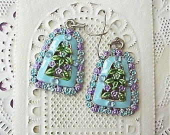 Super Pretty Enameled and Jeweled Earrings in Lavender and Aqua