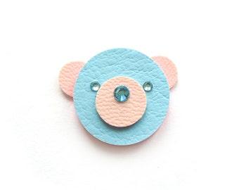 TEDDY BEAR BROOCH, pastel blue and pink teddy bear
