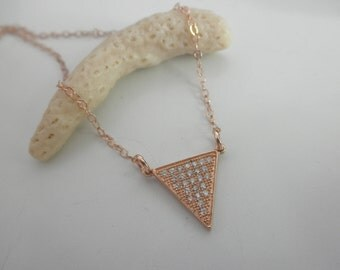 CZ rose gold triangle necklace