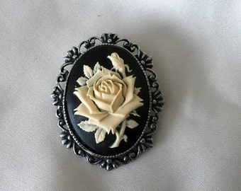 Rose cameo pin brooch antique pewter Steampunk Victorian black and ivory womens jewelry clothing accessories floral  gothic statement piece